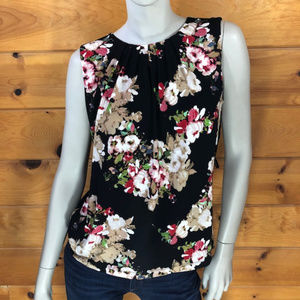 Calvin Klein NWT Sleeveless Black Floral Blouse